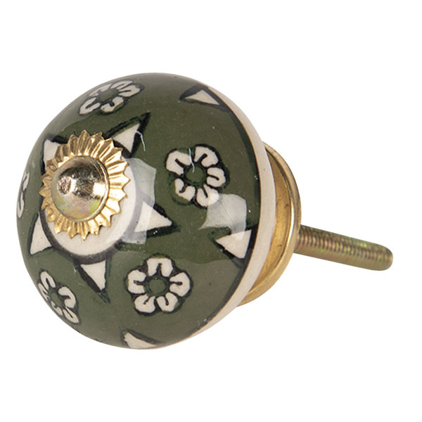 Clayre & Eef Clayre & Eef deurknopje porselein rond groen met bloemen