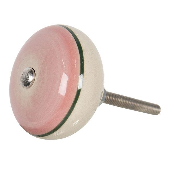 Clayre & Eef Clayre & Eef deurknopje rond  roze creme