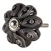 Deurknopje bloem zwart grijs