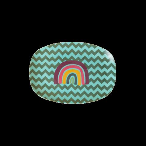 Rice melamine bord ovaal zig zag regenboog klein