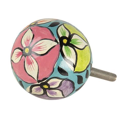 Deurknop met kleurrijke bloemen print
