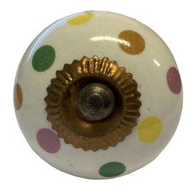 La Finesse La Finesse kastknopje wit met gekleurde stippen