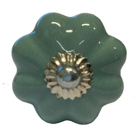 Deurknopje bloem aqua