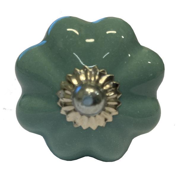 Clayre & Eef Clayre & Eef deurknopje bloem aqua