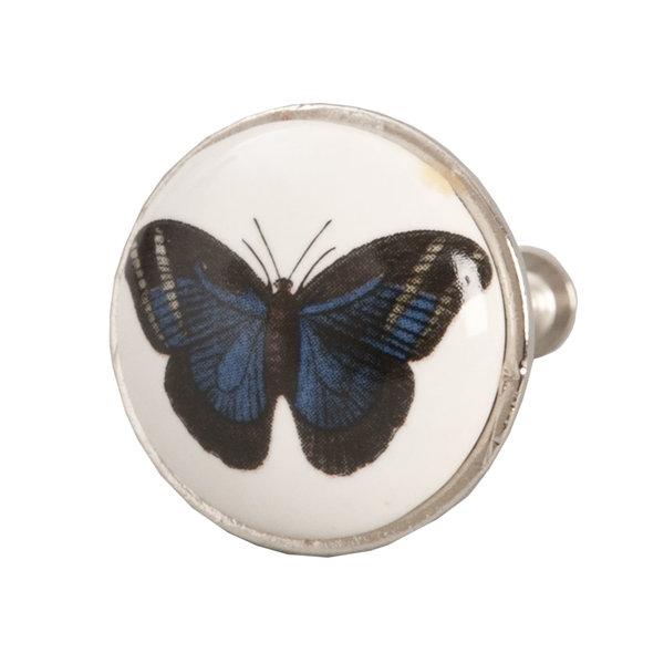 Clayre & Eef Deurknopje vlinder blauw met metalen frame