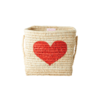 Rice opbergmand raffia hart rood klein
