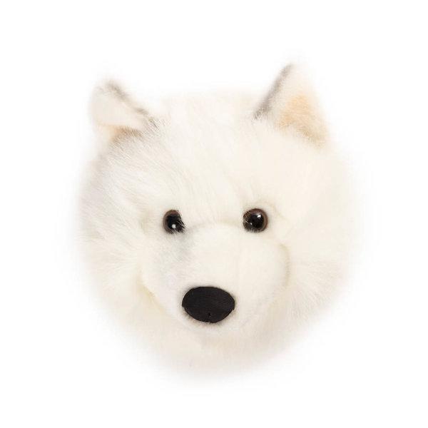 Wild & Soft Wild & Soft pluche dierenkop wolf wit