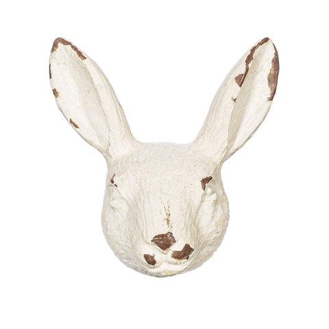 Deurknop konijnenhoofd antiek wit