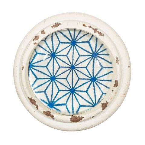 Deurknop Japandi sterren patroon blauw