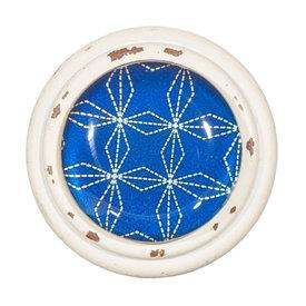 Sass & Belle Deurknop Japandi geometrisch patroon blauw