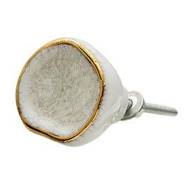 Clayre & Eef Clayre en Eef deurknopje wit craquele met gouden rand