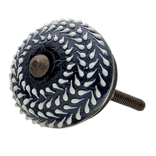 Clayre & Eef Clayre en Eef deurknopje donkerblauw rond met witte stippen