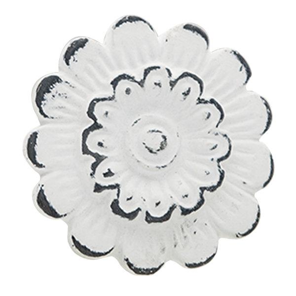Clayre & Eef Clayre & Eef kastknopje bloem metaal wit