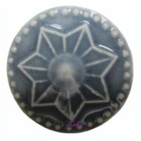 Deurknop porselein ster grijs groot