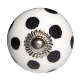 Deurknop porselein stip zwart