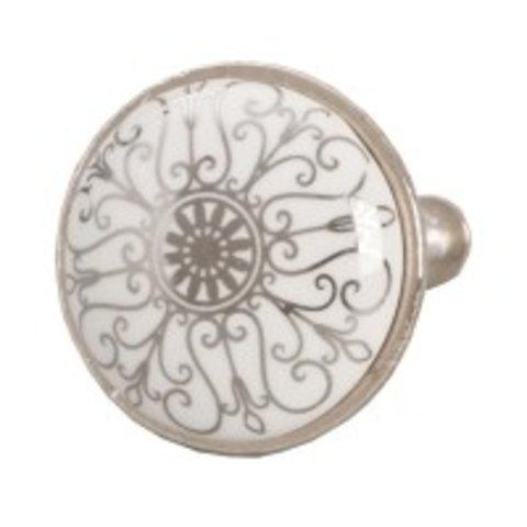 Deurknopje wit met zilveren patroon