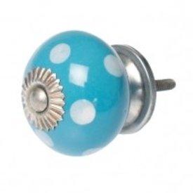 Deurknop blauw met witte stippen