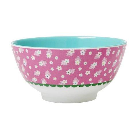 Rice melamine kom roze bloemen