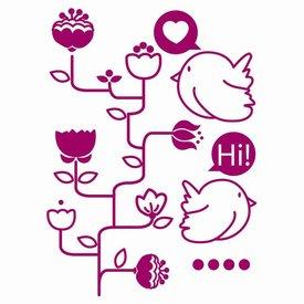 Art-Sticker Muursticker bloemenboom met vogels