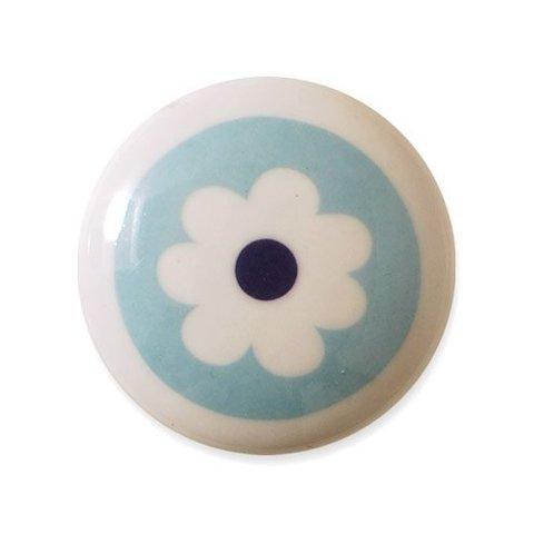 Aspegren deurknopje kinderkamer bloem blauw
