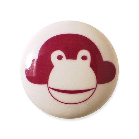 Aspegren deurknopje kinderkamer aap donkerroze
