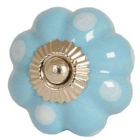 Clayre & Eef Deurknop bloem blauw met witte stippen