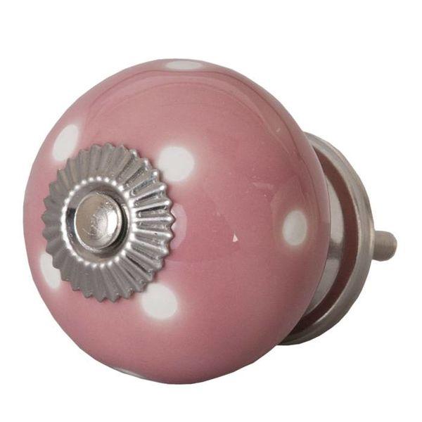 Clayre & Eef Deurknop roze met witte stippen groot