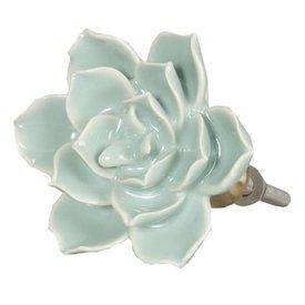 Clayre & Eef Deurknop bloem turquoise groot