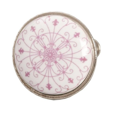 Deurknopje wit met roze patroon