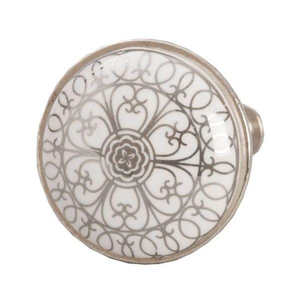 Clayre & Eef Deurknopje wit met zilveren patroon