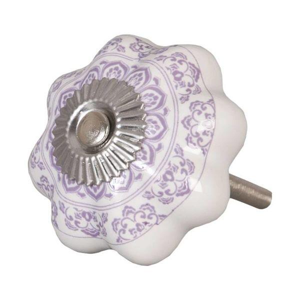 Clayre & Eef Deurknopje bloem wit met paars patroon