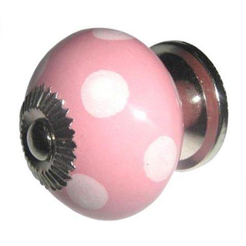 Deurknop porselein roze met witte stippen
