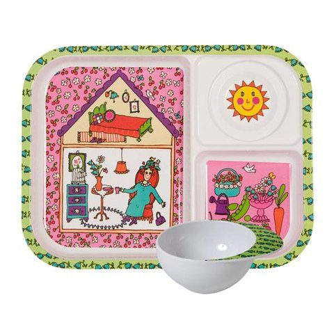 Rice kinderservies set garden lady