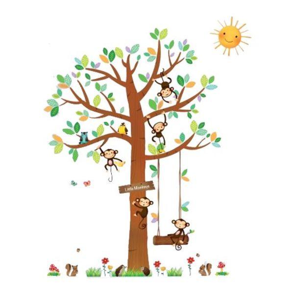 Decowall Decowall muursticker boom met aapjes