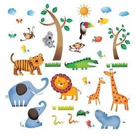 Decowall Decowall muursticker dieren safari