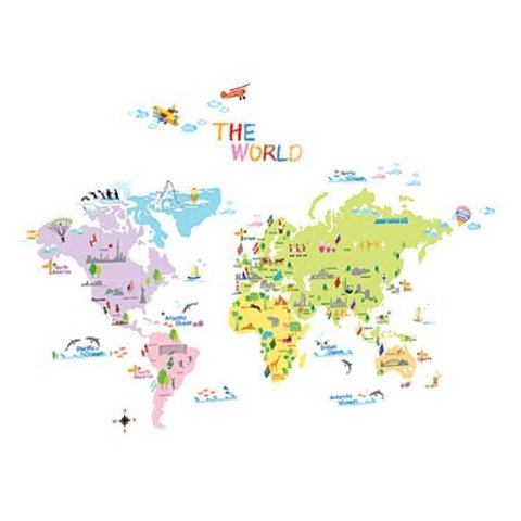 Decowall muursticker wereldkaart multikleur