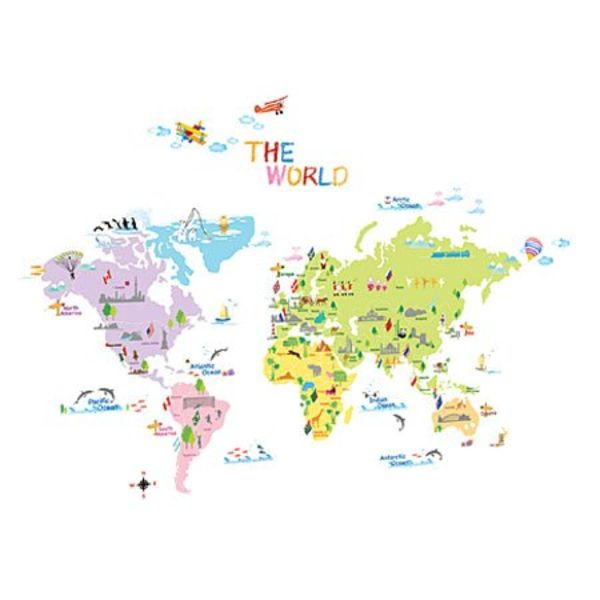 Decowall Decowall muursticker wereldkaart multikleur