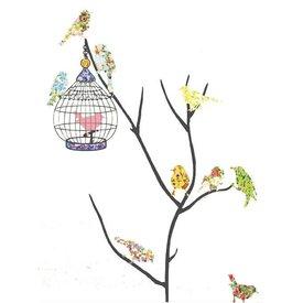Decowall Decowall muursticker tak met vogels en vogelkooi