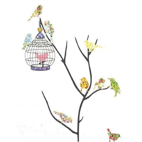 Decowall muursticker tak met vogels en vogelkooi