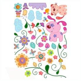 Decowall Decowall muursticker babykamer bloemenboom met poes en hondje