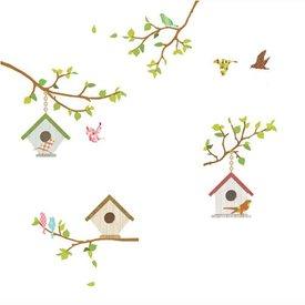 Decowall Decowall muursticker vogelhuisjes