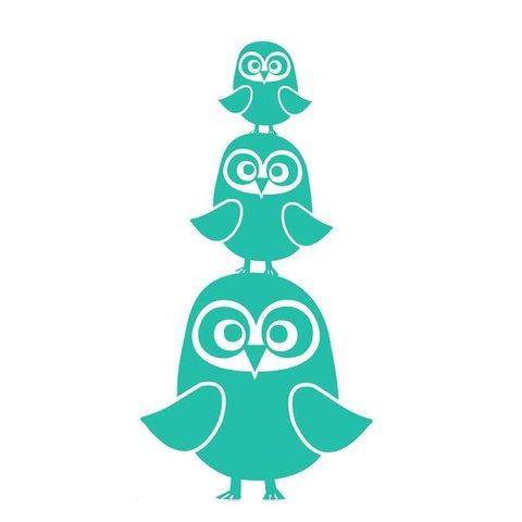 Ferm Living muursticker uilen turquoise
