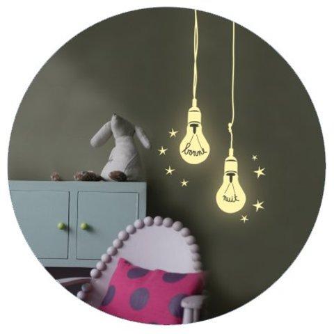 Mimilou fluorescerende muursticker gloeilampjes