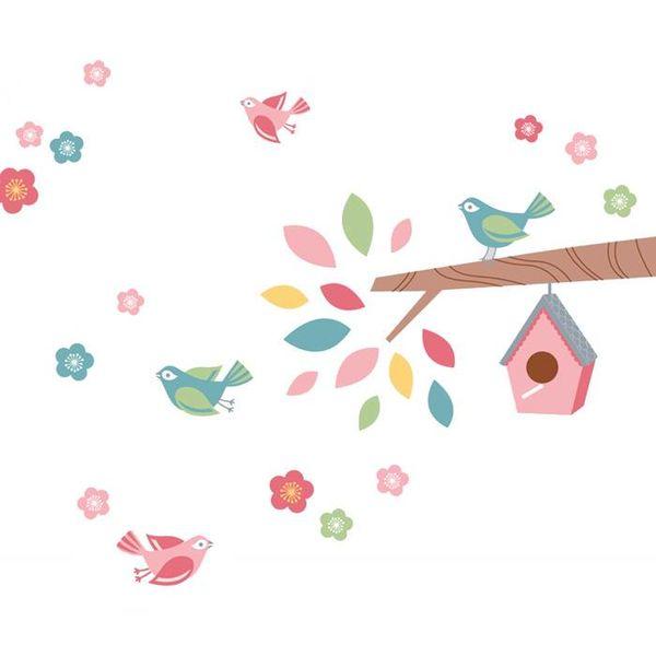forwalls Forwalls muursticker tak met vogels en vogelhuis