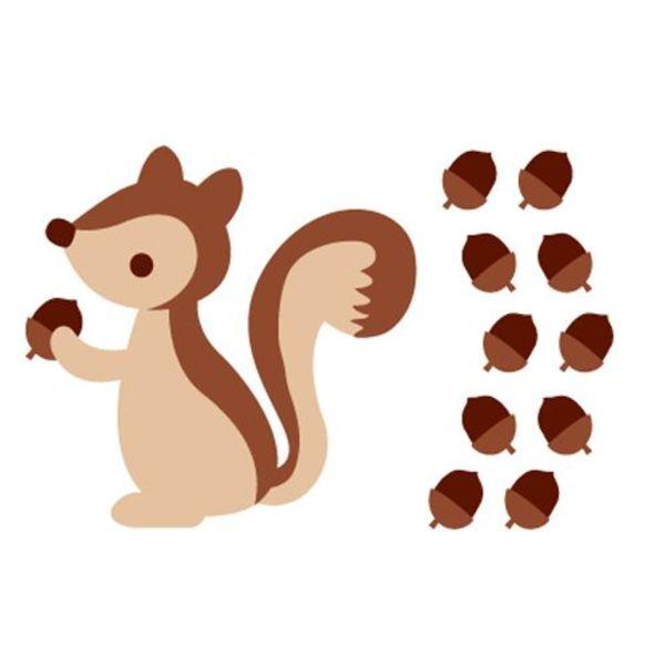 forwalls Forwalls muursticker kinderkamer eekhoorn bruin