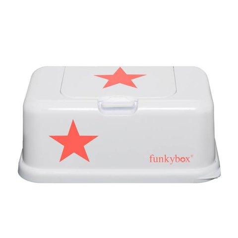 Funkybox billendoekjes bewaardoos wit met neon oranje ster