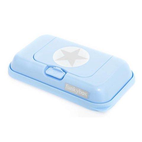 Funkybox To Go bewaardoos voor billendoekjes en snoetenpoetsers silver star blauw