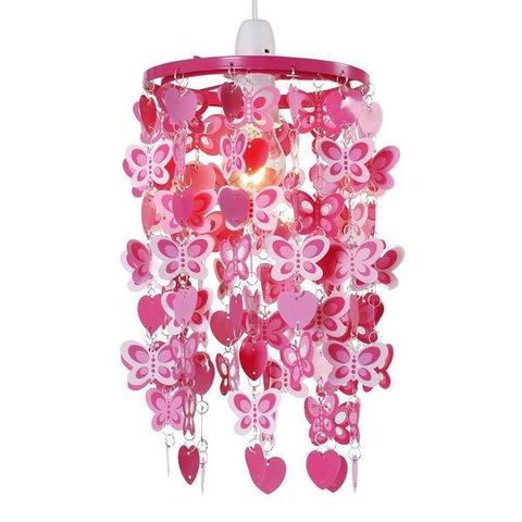 Kinderlamp kroonluchter vlinders pink