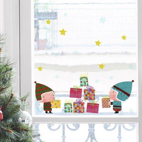 Nouvelles Images raamsticker kerst cadeautjes
