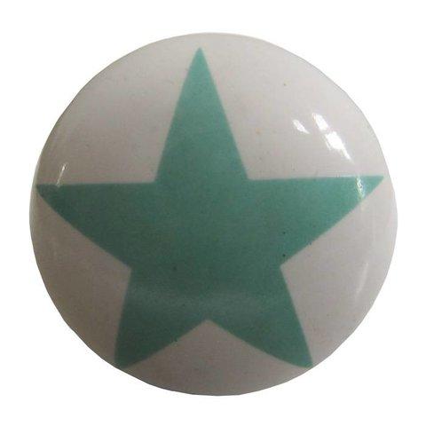 La Finesse kastknopje wit met lichtgroene  ster